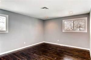 Gray walls white baseboards dark hardwood floors dream for White baseboards with wood floors