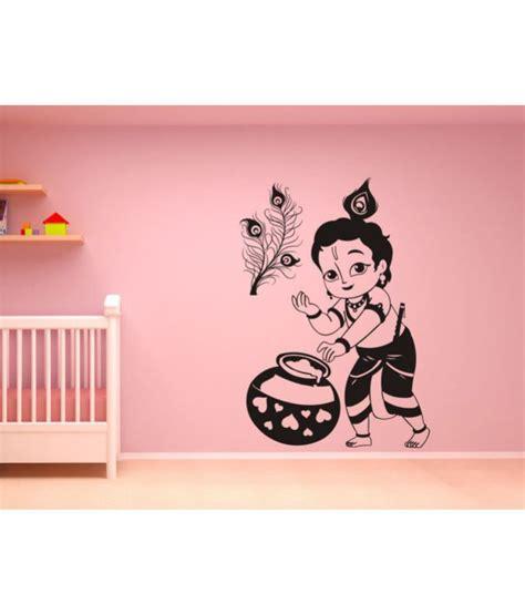 wall guru lord krishna cm vinyl black wall sticker