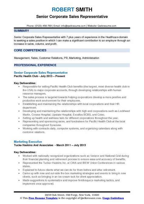 corporate sales representative resume sles qwikresume