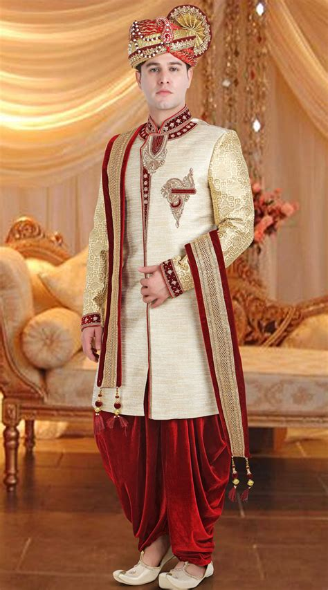 jute cream groom wedding sherwani fd