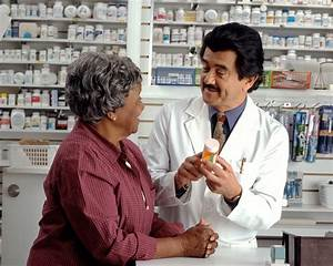 File:Woman consults with pharmacist.jpg - Wikimedia Commons