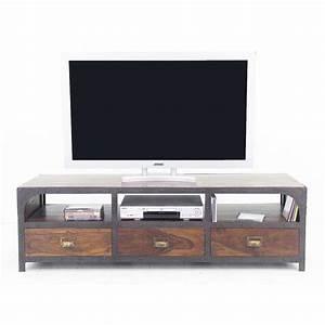 Meuble Tv Fer : meuble tv en fer forg et palissandre inspiration loft ~ Teatrodelosmanantiales.com Idées de Décoration