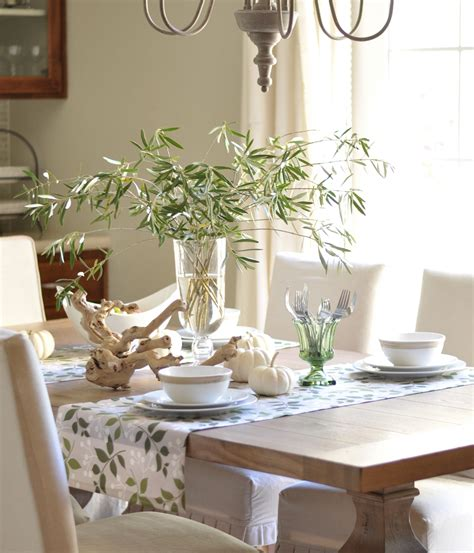 fall dining table decorations olive branch centerpiece with white pumpkins fall
