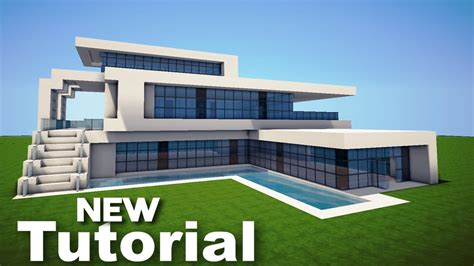 minecraft how to build a realistic modern house mansion tutorial