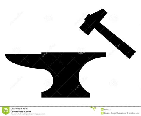 anvil and mallet silhouette stock vector illustration of
