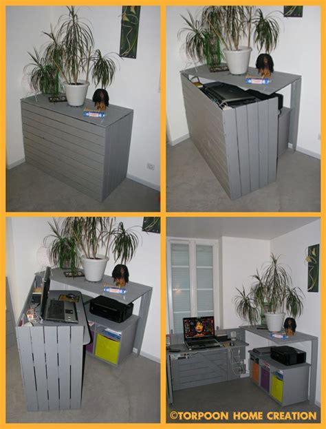 faire un bureau soi meme diy un bureau caché réalisé avec des palettes consoles