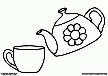 Coloring Colouring Pages Cup Teapot Tea Template