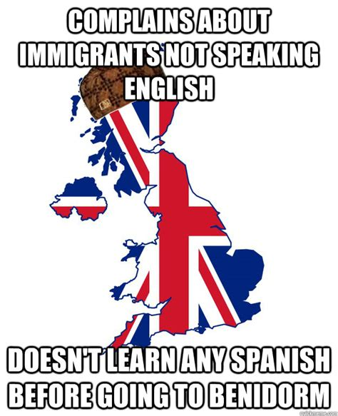 Learn English Meme - complains about immigrants not speaking english doesn t learn any spanish before going to