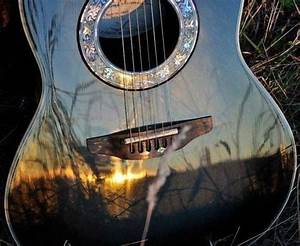 Guitar reflection music outdoors sun trees country guitar ...