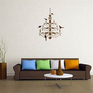 paint templates for walls - chandelier with birds stencil for wall decor painting