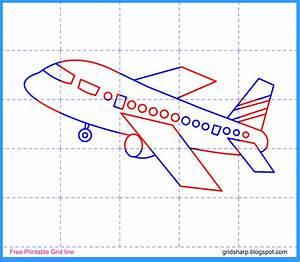Aeroplane Grid Line Drawing