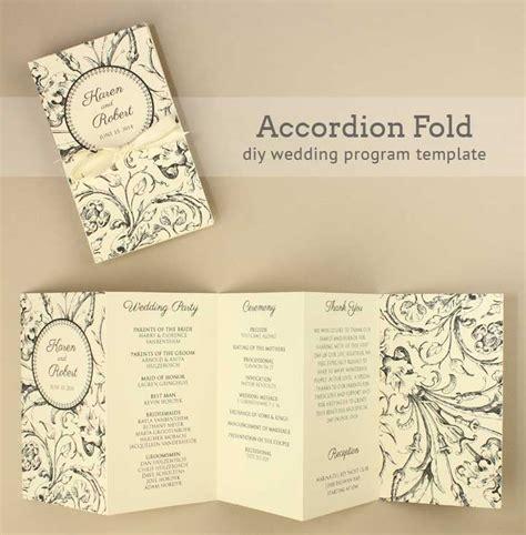 accordion wedding program  printable wedding program