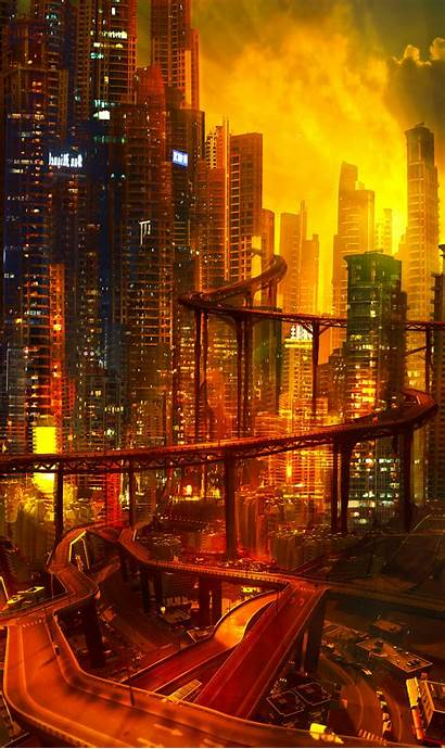 Cyberpunk Future Night Architecture Road Lights Phone