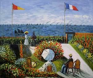 Framed, Monet Garden at Sainte-Adresse Repro, Hand Painted ...