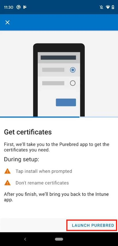 app purebred disa intune microsoft android device open docs tap