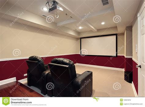 media room with home theater chairs stock photo image