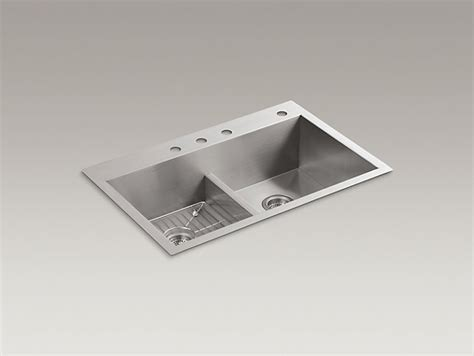 kohler vault smart divide sink k 3838 4 vault smart divide kitchen sink with three