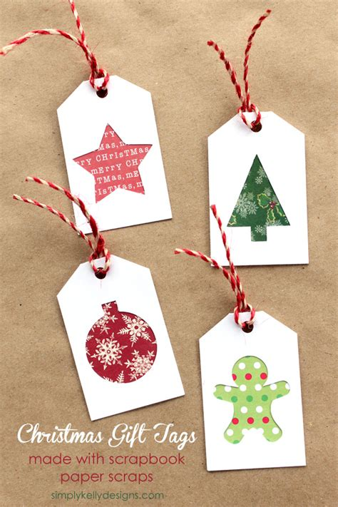 diy christmas gift tags with scrapbook paper scraps and