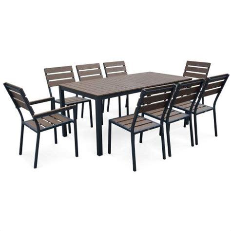 Salon de jardin MONACO en bois composite et aluminium table 180cm 6 chaises et 2 fauteuils ...
