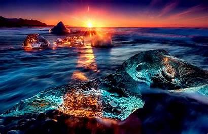 Ocean Sunset Wallpapers Resolution Sea Desktop Iceland