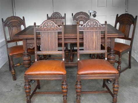 antique english oak dining table   chairs  leather