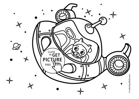 space craft rocket coloring pages  kids  cat