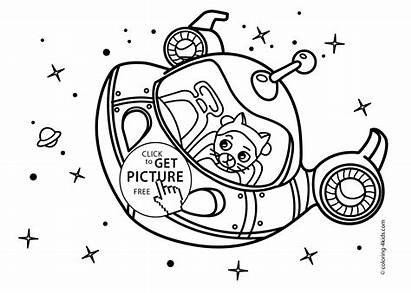 Rocket Coloring Space Pages Cat Ship Printable