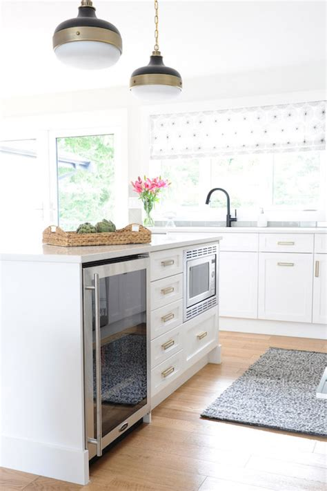 island  mini fridge  microwave transitional