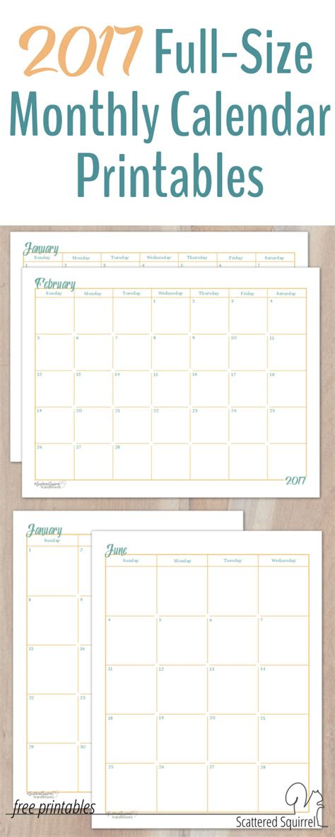 Printable 2015 Calendar Three Months Per Page 2017 Size Monthly Calendar Printables Are Here