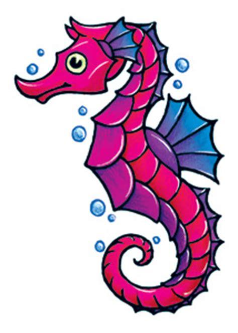 pink seahorse  bubbles temporary tattoo  sea