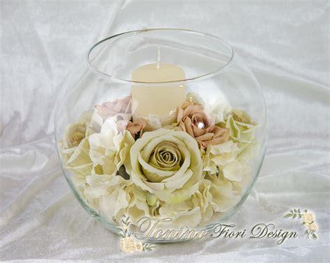 composizioni con candele sfera in vetro con fiori e candela 424 25 creazioni