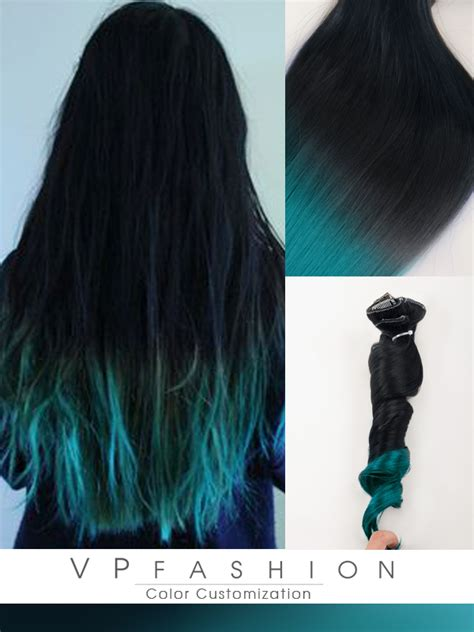 Blue Ombre Human Hair Extensions For Dark Hair Cs028