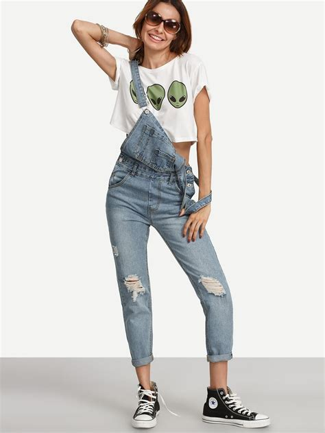 Ripped Stone Wash Denim Overall JeansFor Women-romwe