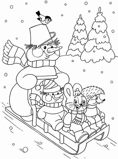 Coloring Winter Season Preschool Kindergarten Crafts Worksheets