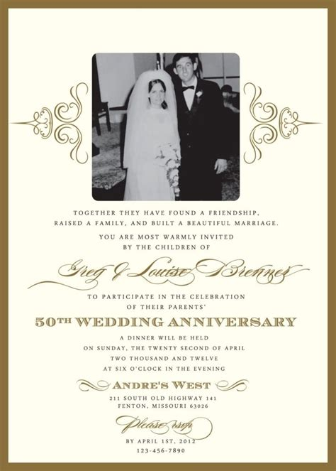 wedding invitations for a 50th wedding anniversary 50th