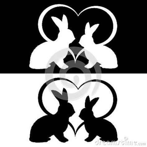 monochrome silhouette   rabbits   heart royalty