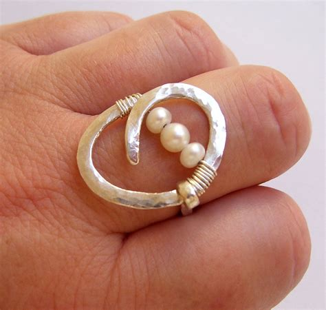 pearl engagement ring pearl wedding ring wire wrapped hammered sterling silver big