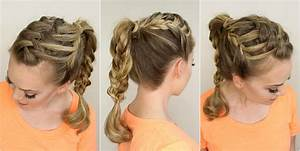 Triple French Braid Double Waterfall Braided Ponytail ...