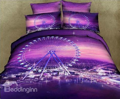 romantic ferris wheel purple color  piece bedding sets beddinginncom