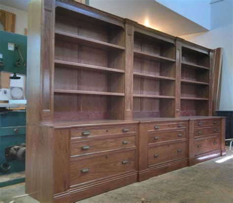 handmade walnut bookcase  file drawers  chatsworth