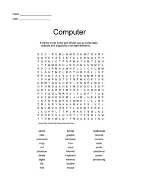 5 best images of printable computer puzzles computer