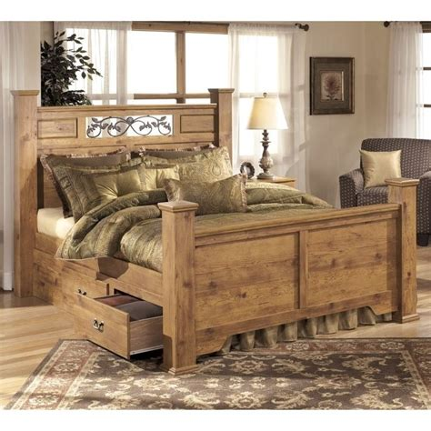 ashley bittersweet wood queen double drawer panel bed in