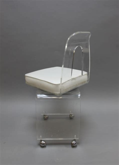 Swivel Vanity Chair With Wheels by Mcm Vintage Lucite Vanity Swivel Chair On Casters