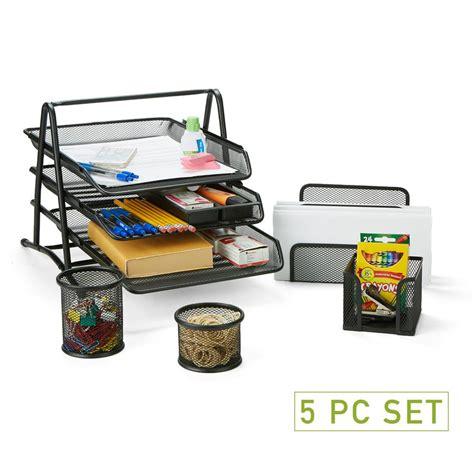 Office Desk Tools by Mind Reader Metal Mesh 5 Office Desk Organizer Set