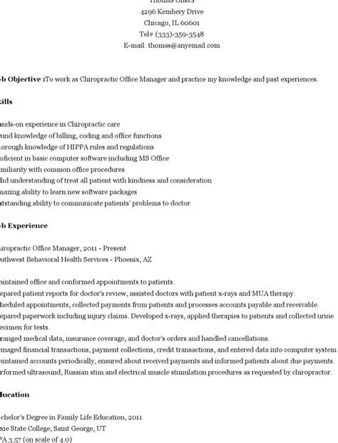 Chiropractic Assistant Resume Sle by 6 Chiropractic Resume Templates Free