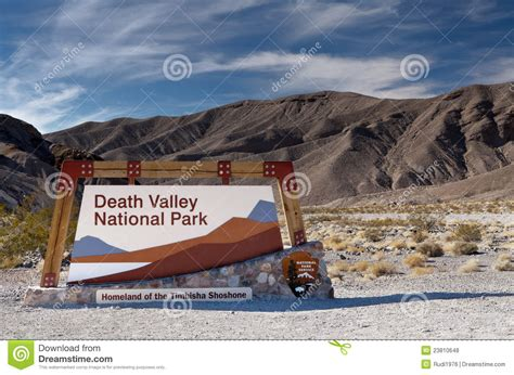 Staircase National Park by Death Valley National Park Entrance Sign Royalty Free