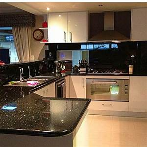 My kitchen, Black Galaxy Granite, sparkly. Black glass ...