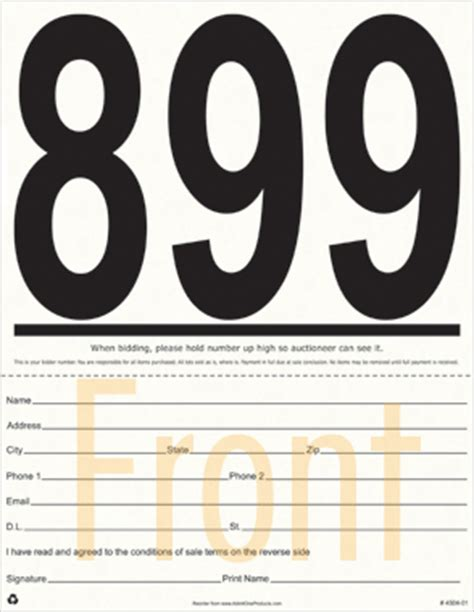 jumbo numbered auction registration bid cards  digits