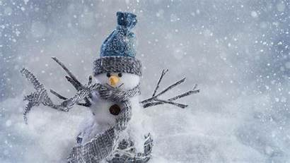 Winter Desktop Met Sneeuwpop Wallpapers Sneeuwstorm Een