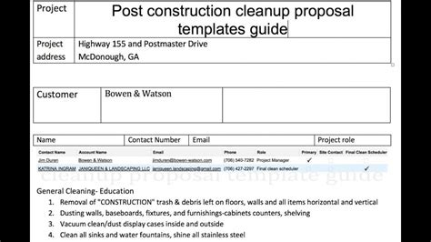 post construction cleaning proposal template